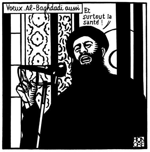 la vignetta di Al Baghdadi su Charlie Hebdo