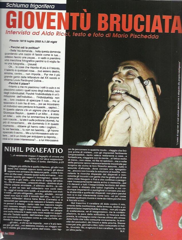 dettaglio intervista ad aldo ricci, testo e foto di Mario Pischedda, apparsa su Frigidaire n.206 del settembre/dicembre 2002